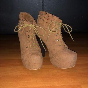 Spiked Brown Heeled Booties